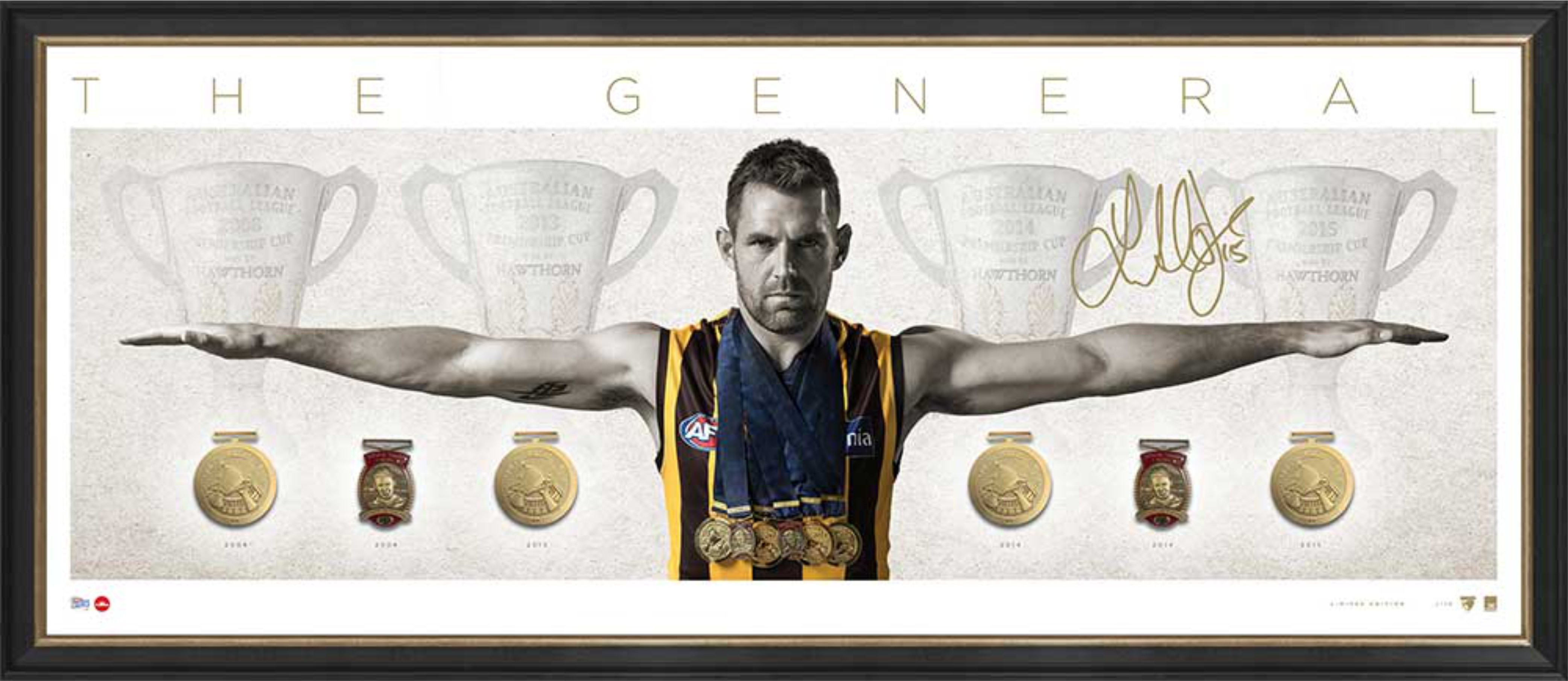 SOLD OUT! The General - Luke Hodge Deluxe Personally signed Wings Display featuring Replica Medals