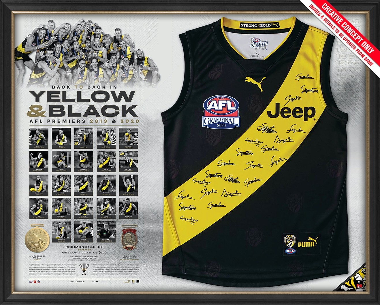 SOLD OUT! Yellow and Black - Richmond 2020 AFL Premiers Guernsey