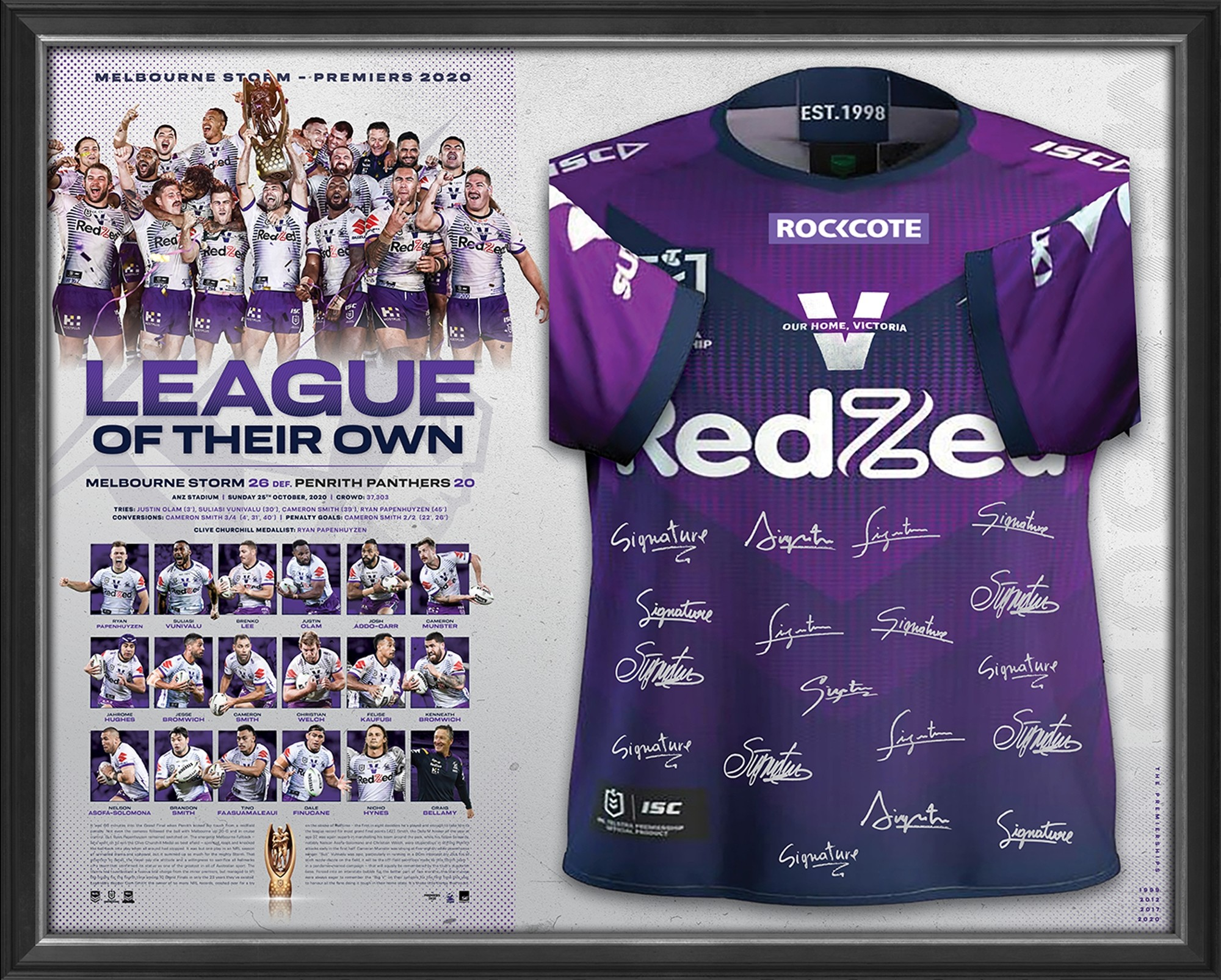 League of their Own - Melbourne Storm 2020 NRL Premiers Signed Jersey