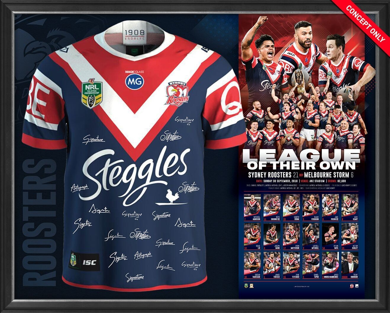 """Sydney Roosters 2018 NRL Premiership Team Signed """"League of their own"""" Jersey"""