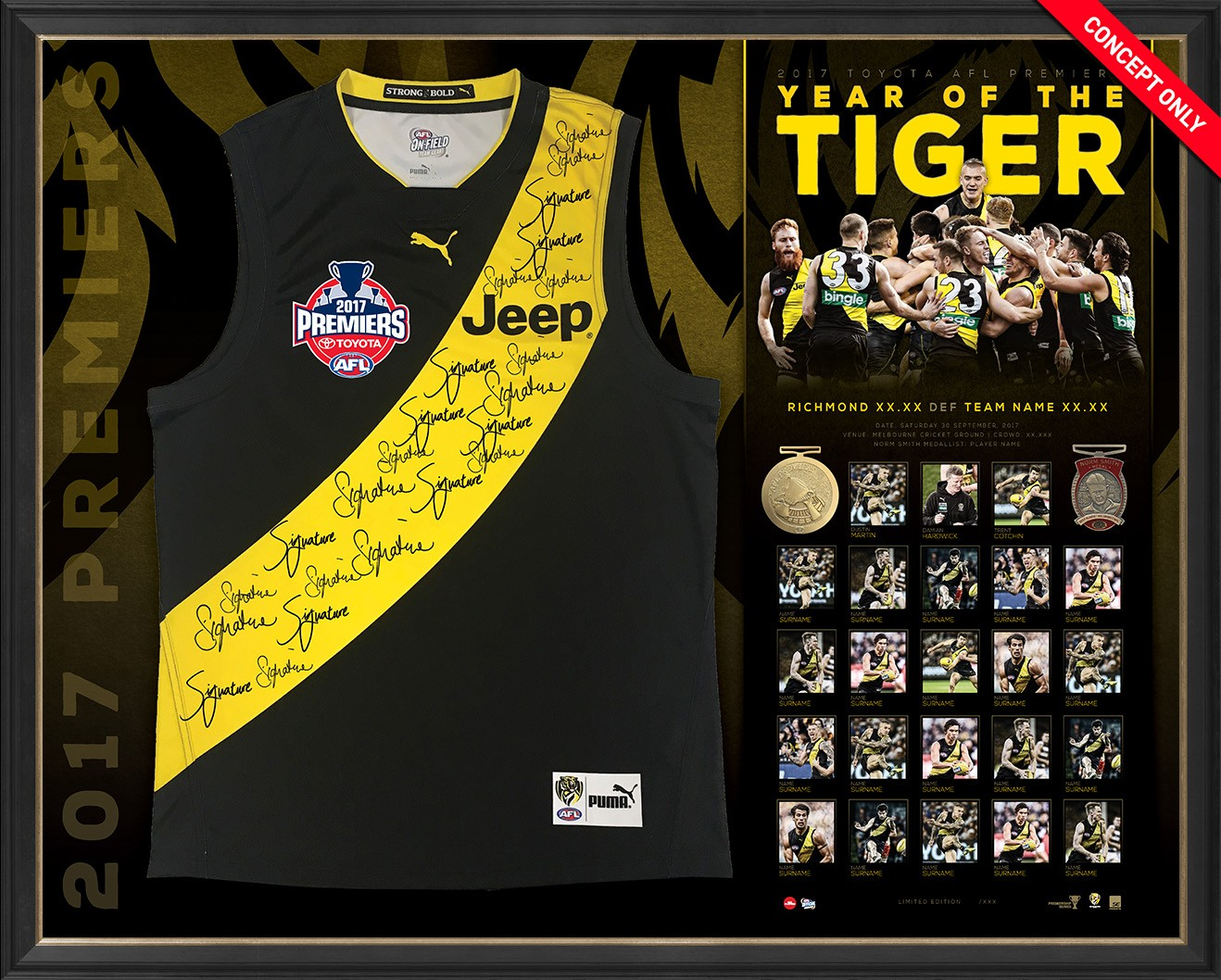 SOLD OUT! Year of the Tiger - Richmond 2017 AFL Premiers Team Signed Guernsey