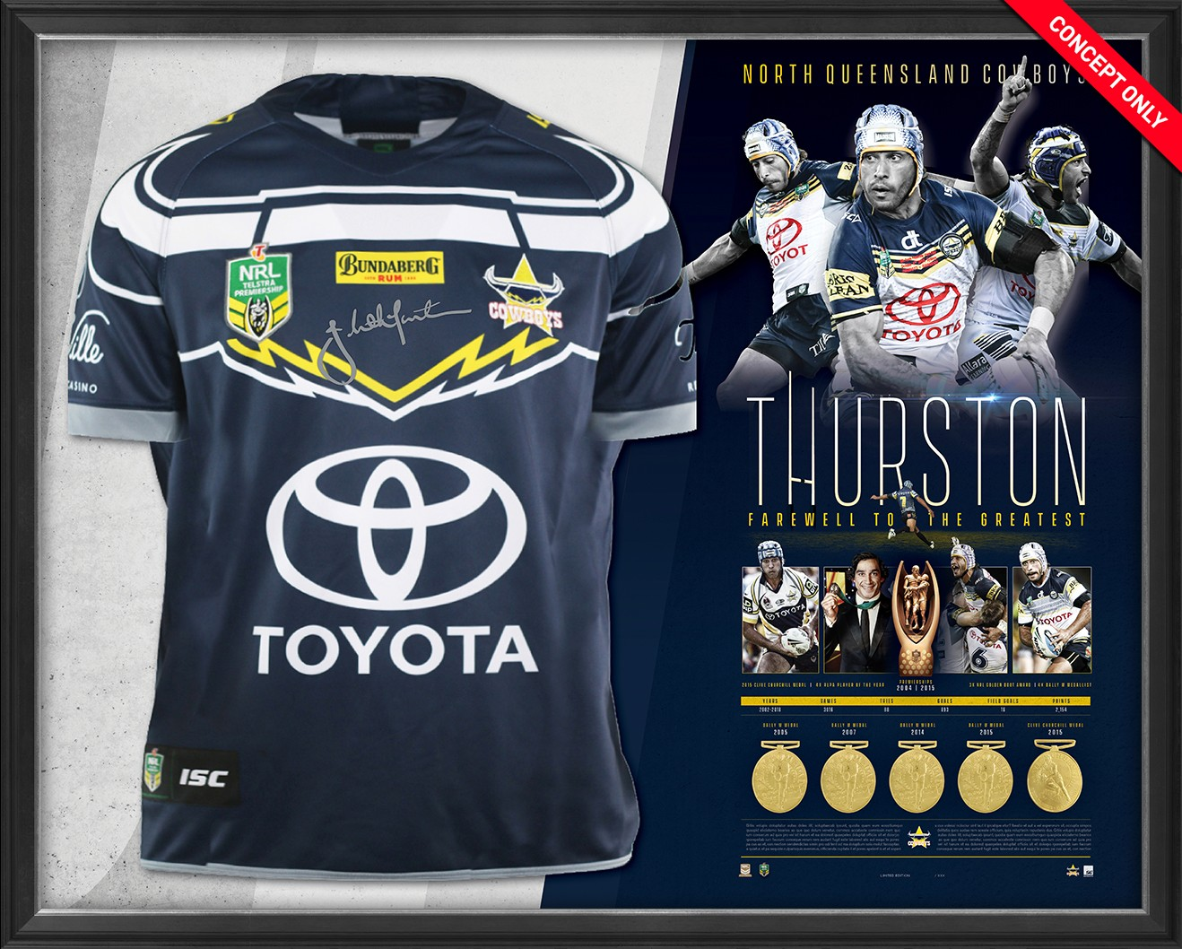 SOLD OUT! Johnathan Thurston Retirement Jersey Display - Farewell to the Greatest