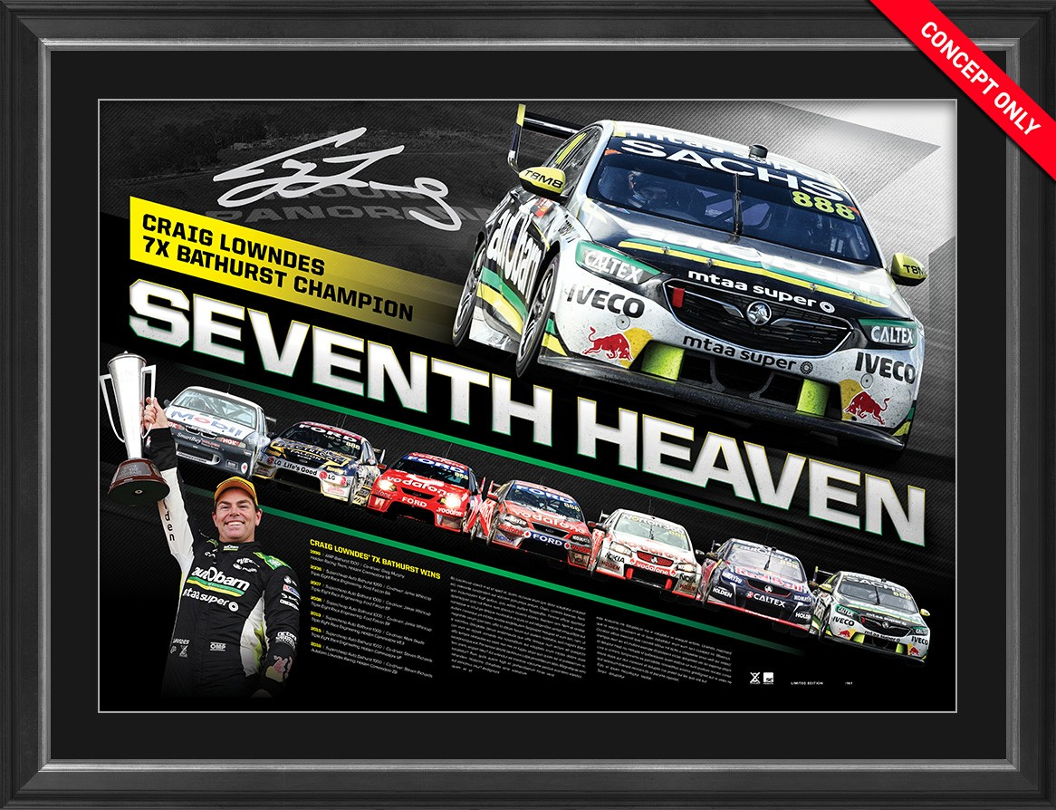 """LAST ONE! Craig Lowndes Signed """"Seventh Heaven"""" Limited Edition"""