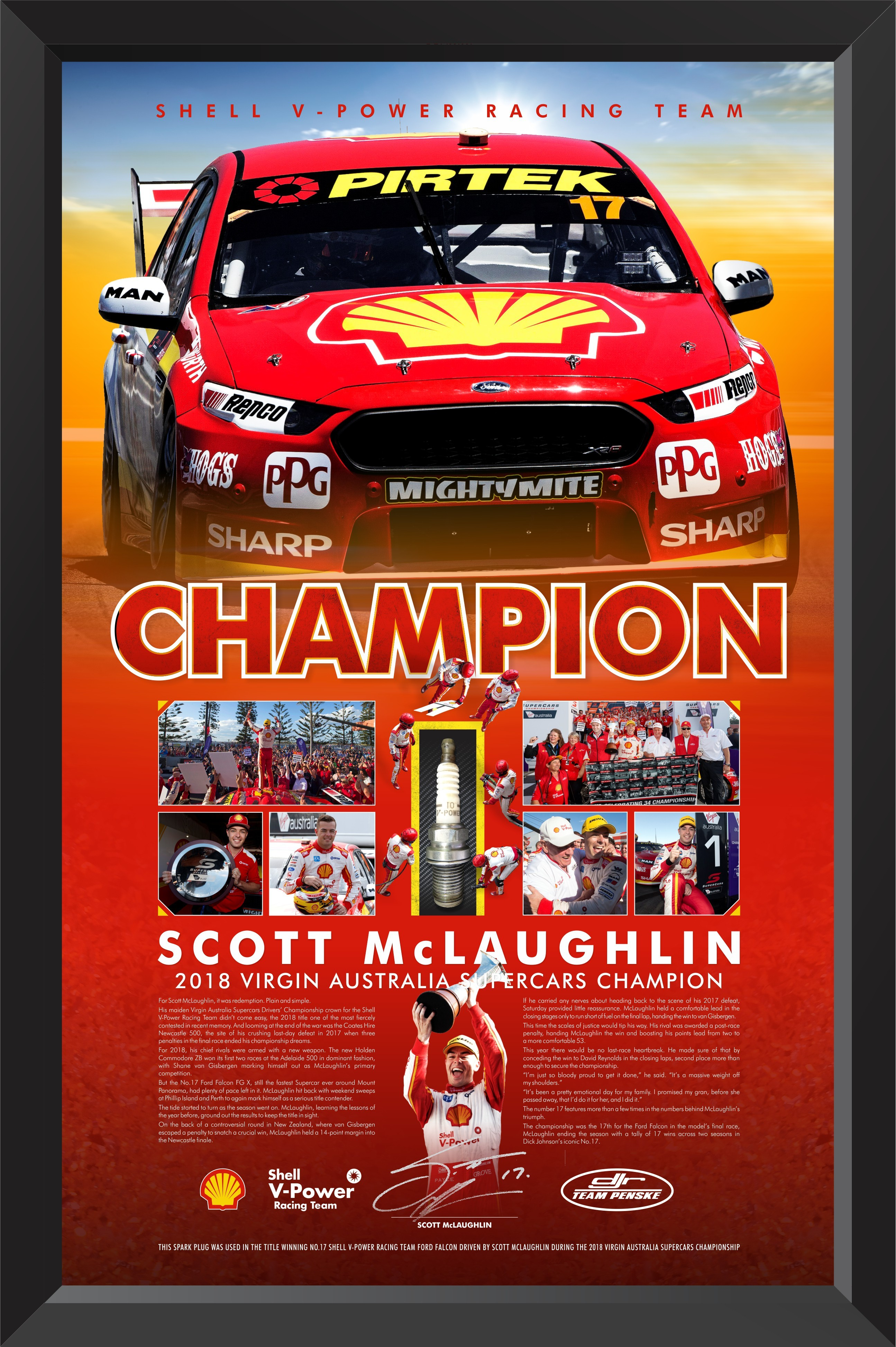 "SOLD OUT! Scott McLaughlin Signed ""Champion"" Race Used Spark Plug Limited Edition"