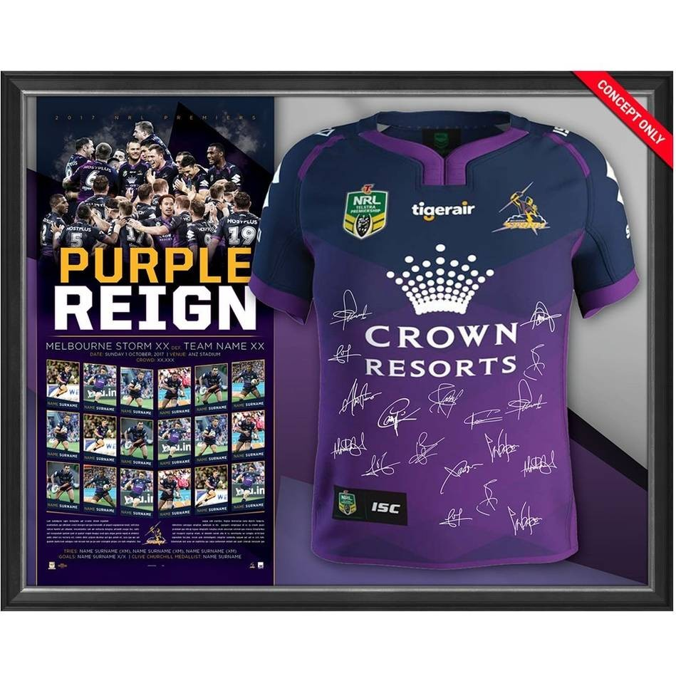 SOLD OUT! Purple Reign - Melbourne Storm 2017 NRL Premiers Team Signed Jersey