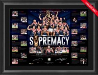 """Sydney Roosters 2018 NRL Premiership Dual Signed """"Supremacy"""" Limited Edition"""