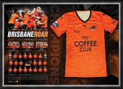Brisbane Roar 2014 A League Champions Team Jersey Display