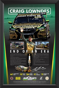 "SOLD OUT! Craig Lowndes ""End Of An Era"" Race Used Spark Plug Display"