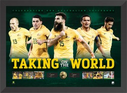 Taking on the World - Australian Socceroos Dual Signed Lithograph