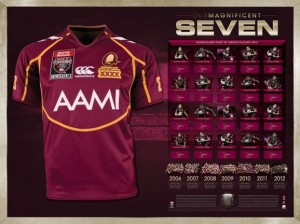 SOLD OUT! 2012 State of Origin Queensland Team Jersey Display - Our Magnificent Seven