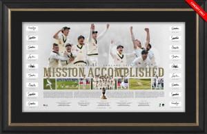 SOLD OUT! Mission Accomplished - Australia Team Signed Ashes Success Lithograph