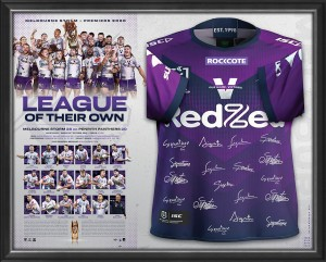 SOLD OUT! League of their Own - Melbourne Storm 2020 NRL Premiers Signed Jersey